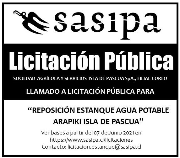Aviso de Licitación pública para reposición de estanque de agua potable en Arapiki